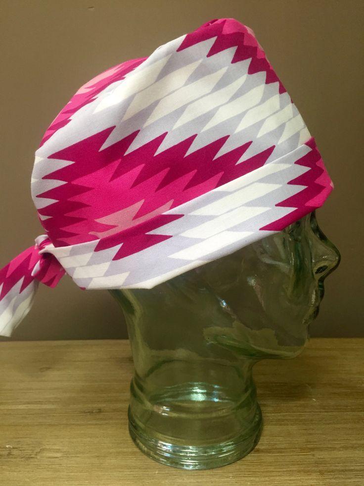 Fuchsia & White Aztec Pattern Surgical Scrub Hat, Women's Tribal Pattern Pixie Scrub Hat, Custom Caps Company by CustomCapsCompany on Etsy