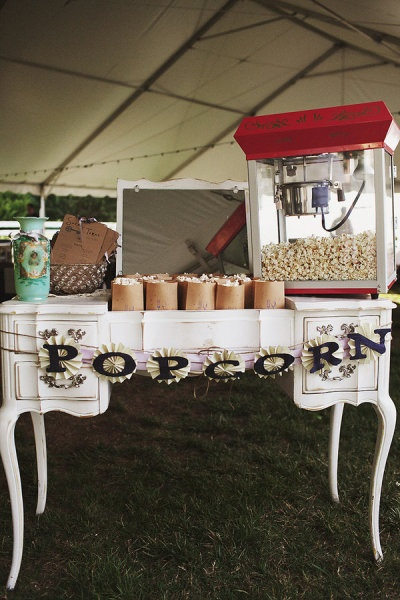 Popcorn Station - fun for the kids while the barbecue's taking it's sweet grilling time