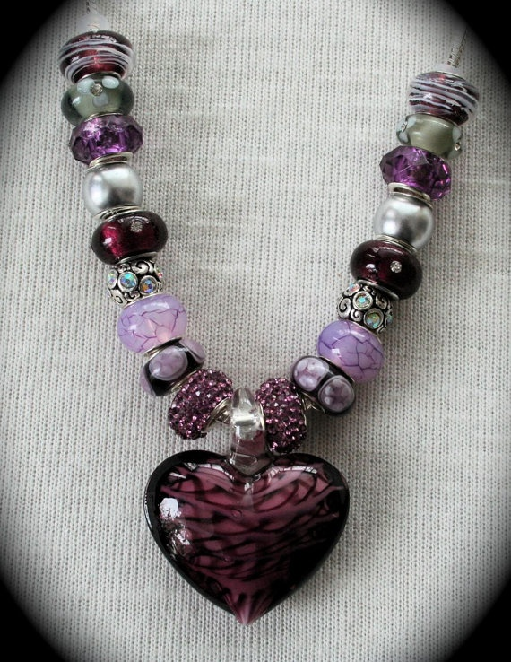 European Charm Necklace by MichelesLuckyCharms on Etsy, $25.00