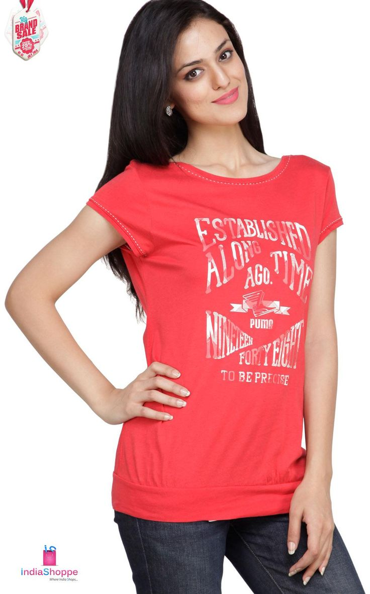 Puma Red Half Sleeves Women - Non-collared T-shirt. The regular fit T-shirt sports a boat neck and half sleeves for maximum appeal. Buy 1 & Get 15% OFF or Buy 2 & Get 25% OFF. http://goo.gl/lr1TXt