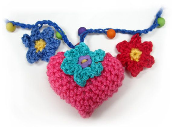 Hearts and Flowers Crochet Garland Pattern by PlanetPennyUK