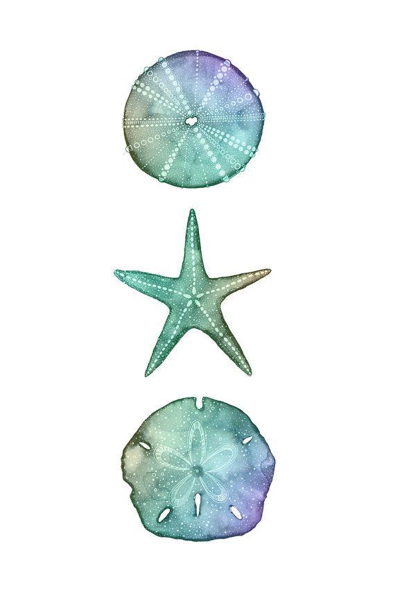 Tie-Dye Ocean Trio Print Watercolor Art Print by FinandFeatherArt