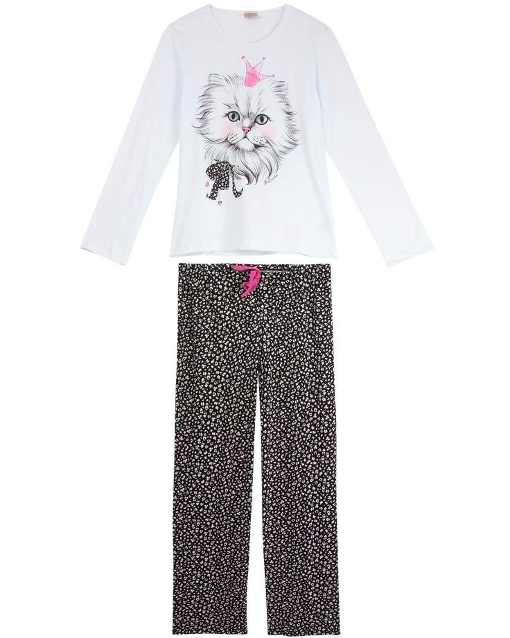Pijama Feminino Lua Encantada Longo Gato   Pijama Online - Pijama Online