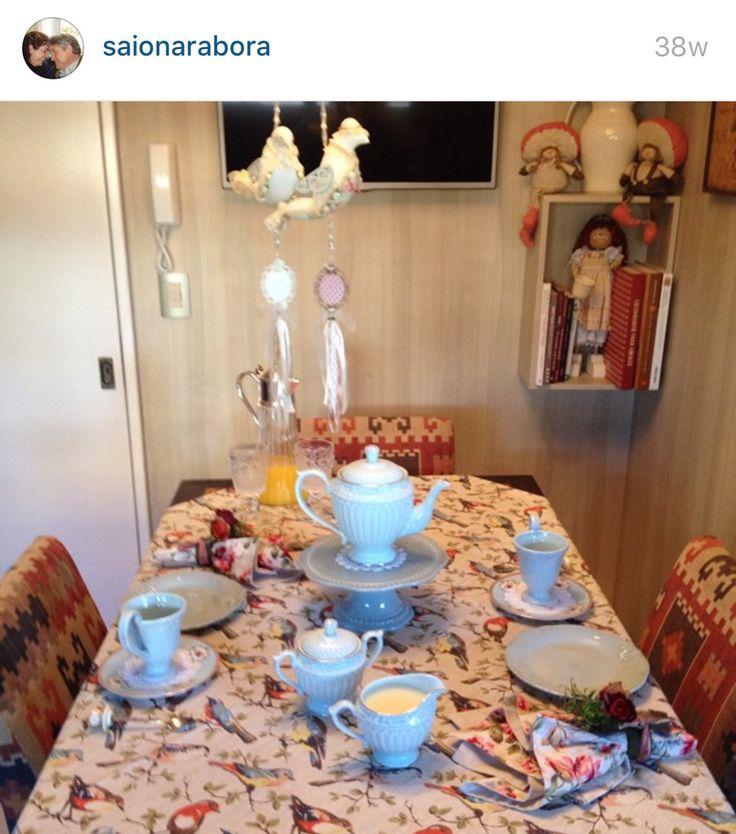 Mesa café receber passarinhos azul patchwork decoração
