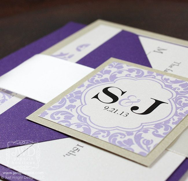 Wedding Invitation Champagne Lavender Purple Wedding Invitation Suite with Ribbon Belly Band Kirkland - SAMPLE KIT. $3.00, via Etsy.
