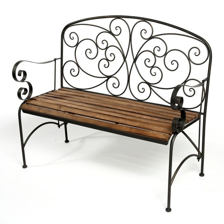 Iron and Timber Scroll Garden Bench from Shanghaied
