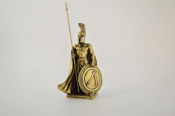 Leonidas statue/ Polyester/ Bronze plated 16cm by CraftsAndMetal