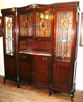 Luxurious French Antique Walnut Marble Top Chippendale China Cabinet Buffet Ebay