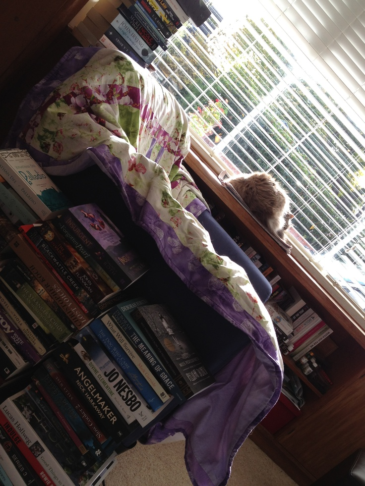 'I read everywhere ... A compulsive reader, I read on the bus, plane, train, cafes, parks and everywhere in between. But nothing beats curling up in your favourite chair with a great stack of books at hand ... That's if the cat hasn't snagged it first!'  -Jacq