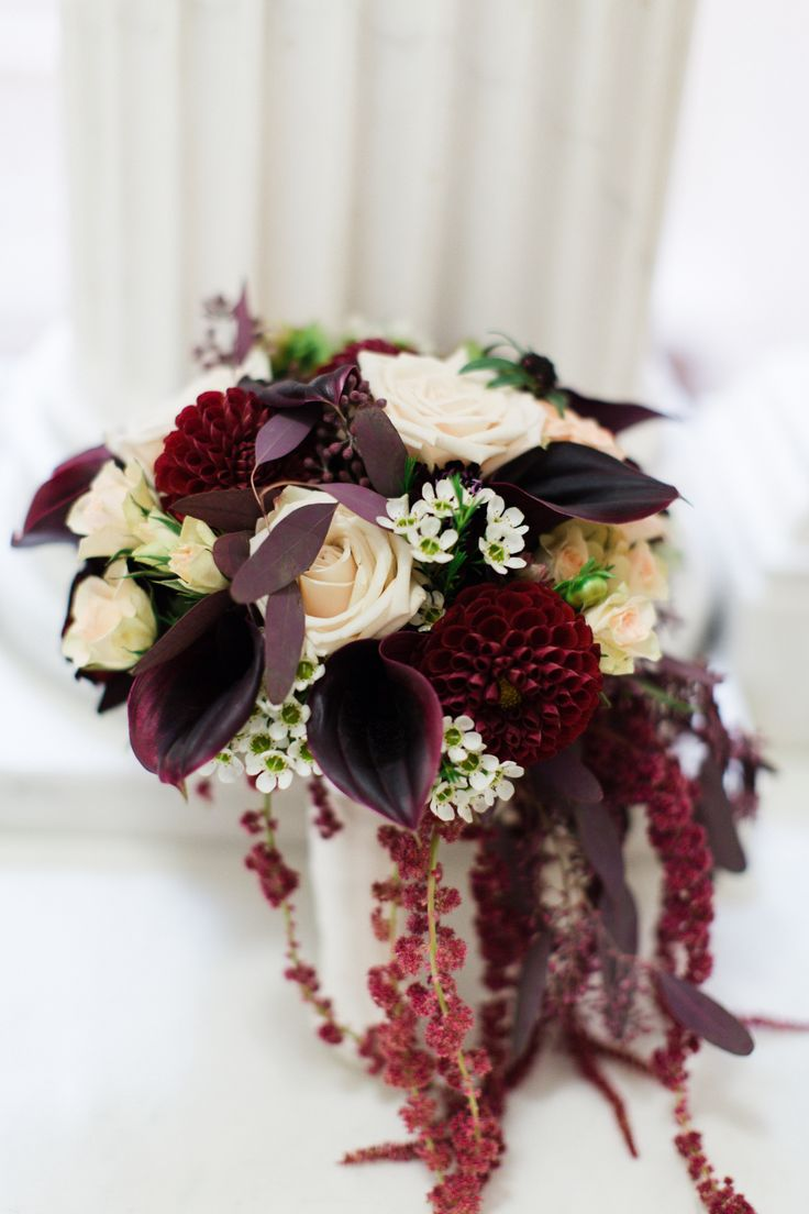 Burgundy Calla Lily, Dahlia and Amaranthus Bridal Bouquet (A cool, contemporary bouquet)