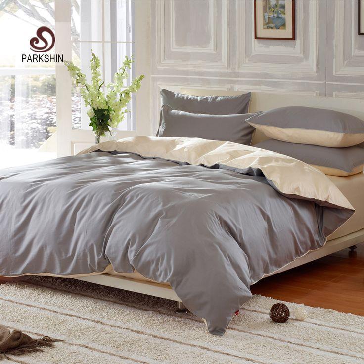ParkShin Plain Double Bedding Set Solid Color Silver Gray And Beige Duvet Cover Set Soft Cotton Flat Sheet 3Pcs or 4Pcs