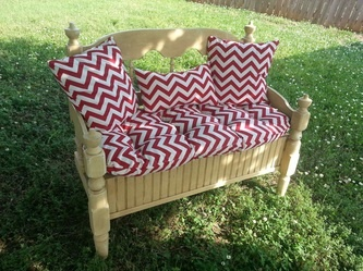 Gorgeous bench from twin headboard and painted with Maison Blanche paint.