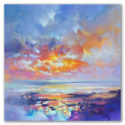 Paisaje moderno que raya el abstracto, muestra el cielo, el mar y un trozo de la isla de Ibiza, justo antes de que aparezca el sol.  Las luces de la ciudad y las nubes se agolpan en un abanico de colores que traen la calma después de la noche.