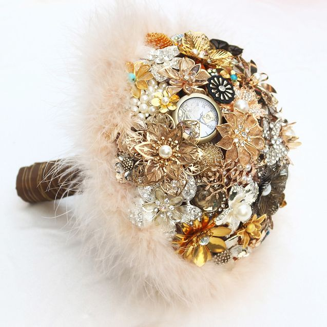 Wedding Bouquets Information about Brown & Gold Vintage Bridal…http://www.aliexpress.com/store/product/Brown-Gold-Vintage-Bridal-brooch-bouquet-Feathers-decorated-wedding-bouquets-Bride-bouquet/621238_32550874823.html