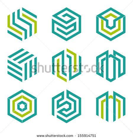 Company vector logo design elements. Set of nine abstract hexagon shaped vector symbols. - stock vector