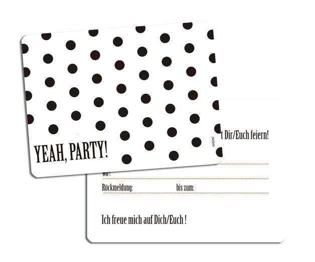 Einladungskarten - 8x Einladung ★ YEAH PARTY★ millimi - ein Designerstück von millimi bei DaWanda