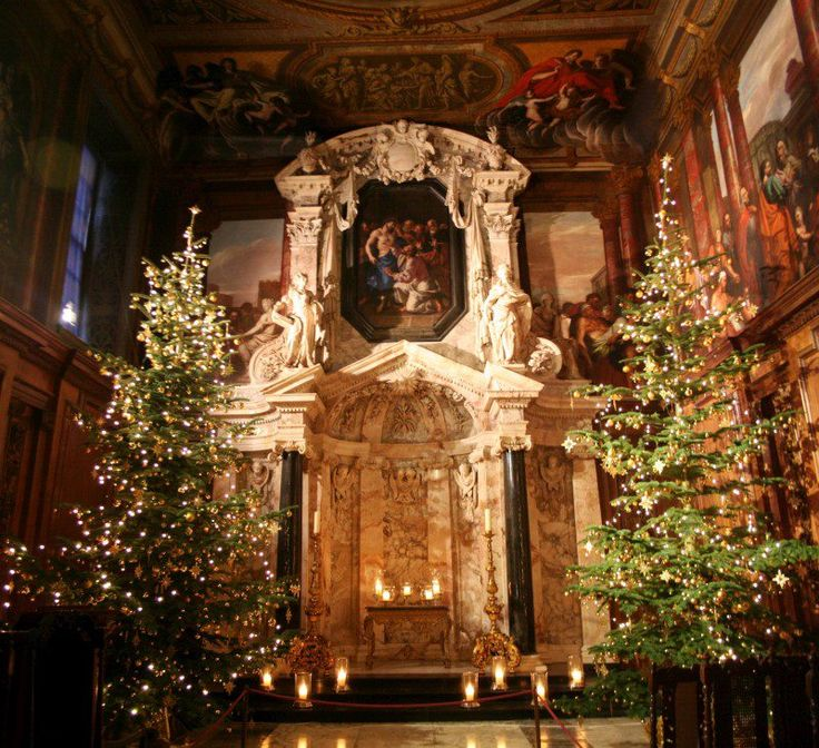 Chatsworth House, chapel, England — Christmas time...  From...  http://a-l-ancien-regime.tumblr.com/post/38713890293/chatsworth-house-chapel-christmas-time#