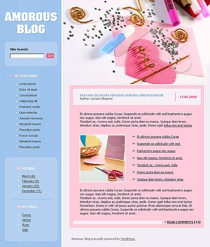 Blog Love WordPress Themes by Di