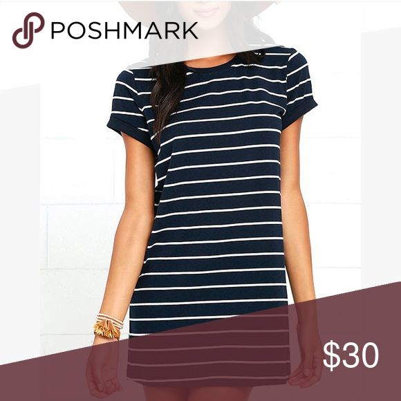 Cafe Society Striped Shirt Dress Navy and cream, excellent condition Lulu's Dresses Mini