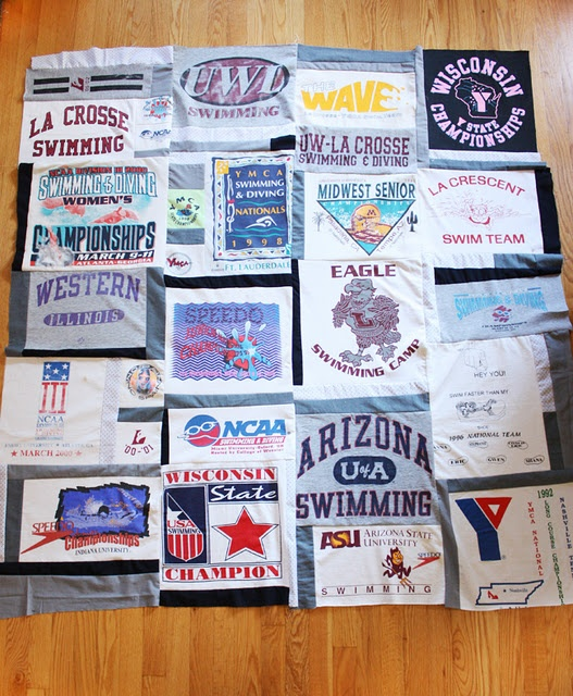t-shirt memory quilt - tip for knitCrafts Ideas, Tshirt Quilt, Memories Quilt, Memory Quilts, Fabrics Projects, Knits Fabrics, Baby Clothing, T Shirts Quilt, Knits Mondays