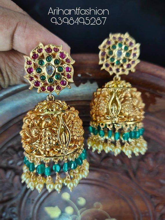 Beautiful real kempu earrings with pressing style back