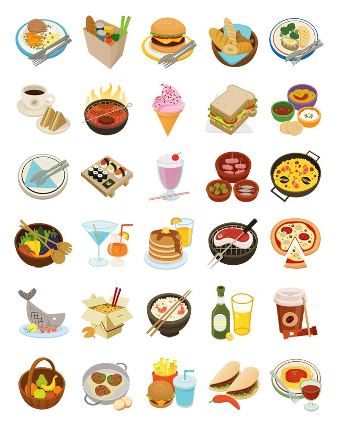 food icons for the iphone and android app Nosh designed by Eva Galesloot http://cargocollective.com/skwirrol #art #illustrations