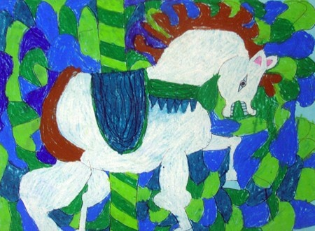 Guided Drawing Of Carousel Horse Based On The Right Side Brain