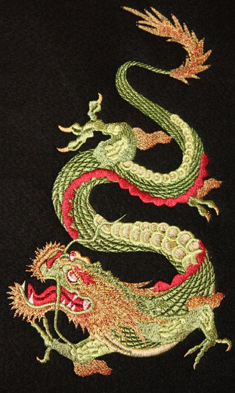 726 best machine embroidery images on pinterest machine year of the dragon large machine embroidery dragon design stitched in metallic thread on black dt1010fo