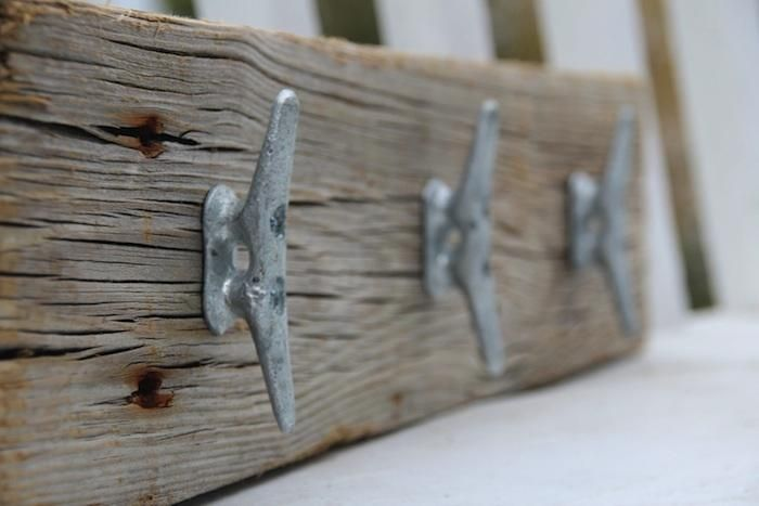 love the rustic industrial combination - Cleat Hooks by Dockside Cottage, Remodelista