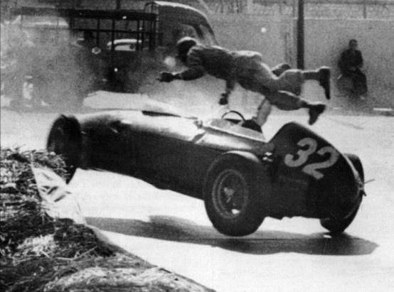 Cliff Allison thrown out of his Ferrari during practice at the 1960 F1 Monaco GP, lay unconscious for 16 days