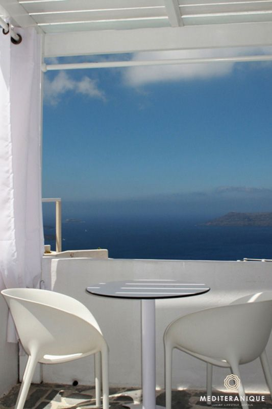 A terrace with incredible views at the Rocabella Santorini