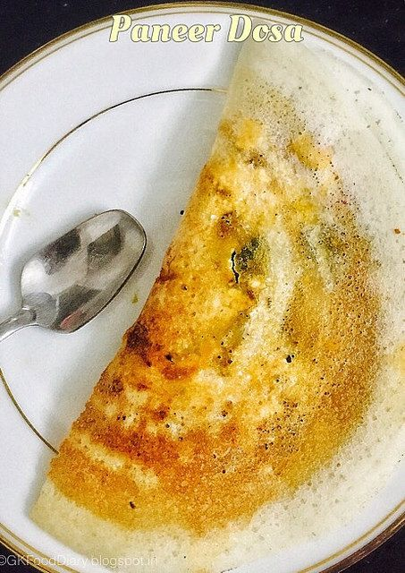 Paneer Dosa Recipe | Dosa Varieties - Dosa made with crumbled paneer and capsicum. Easy and filling breakfast