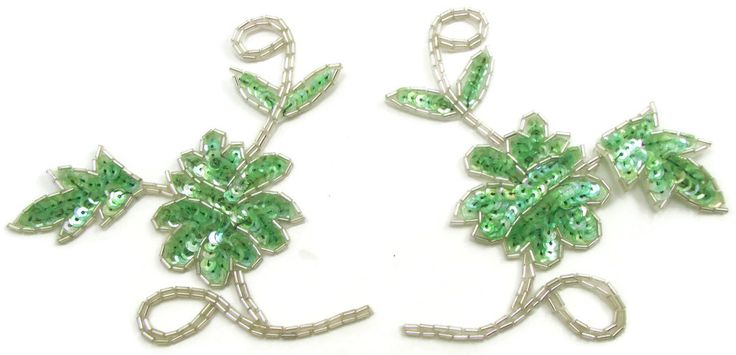 """Flower Pair Dainty with Iridescent Mint Sequins and Silver Beads 4.5"""" x 5"""""""