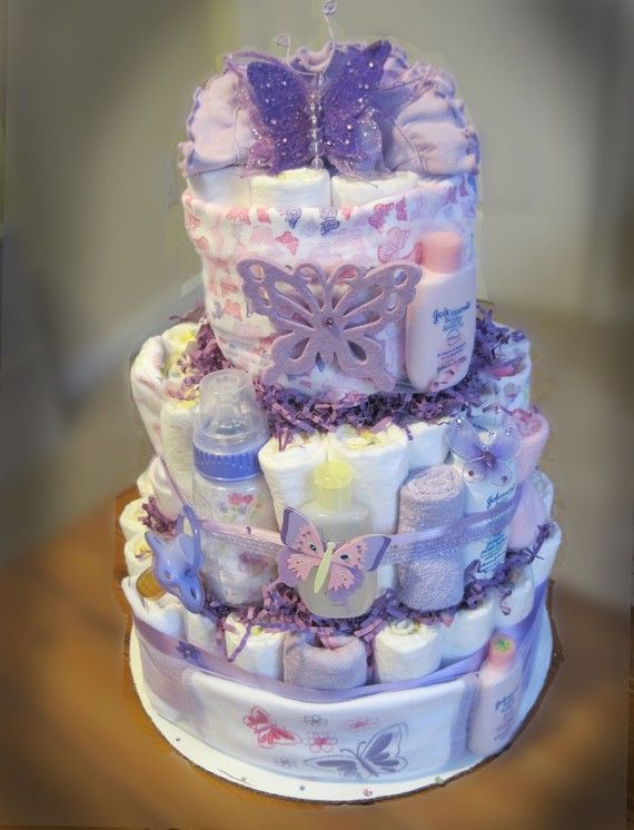 Purple Butterfly diaper cake(Did one for L&A's baby shower. Loved it &it was so much fun!)