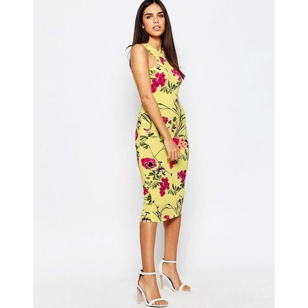 Club L Racer Front Midi Dress in Bright Floral Print (£12) ❤ liked on Polyvore featuring dresses, yellow, high neck dress, yellow midi dress, floral midi dress, yellow floral dress and yellow bodycon dress