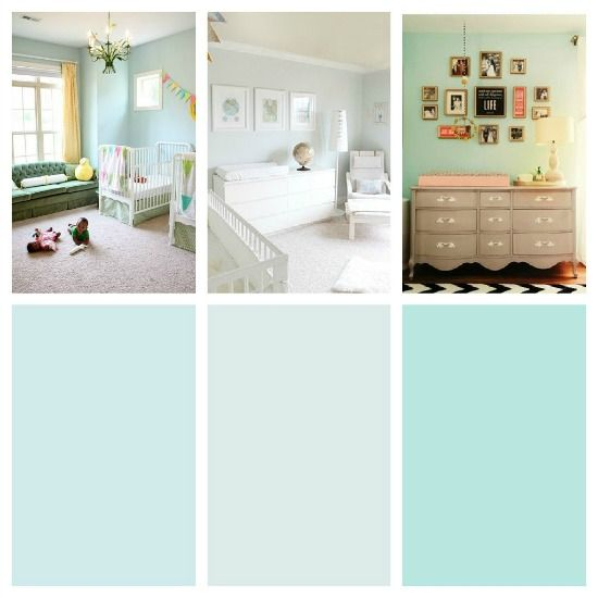 Good visual in paint differentiations.  pinterest sherwin williams paint   paint colors left to right: SW bubbles, SW carefree, SW aqua tint