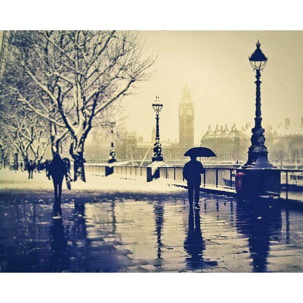 London photography, Rain, British, London Art, Umbrella, UK London... ❤ liked on Polyvore
