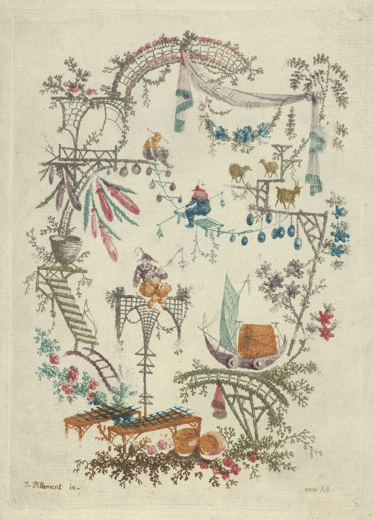 Designed by jean pillement chinoiserie from nouvelle for Chinoiserie design