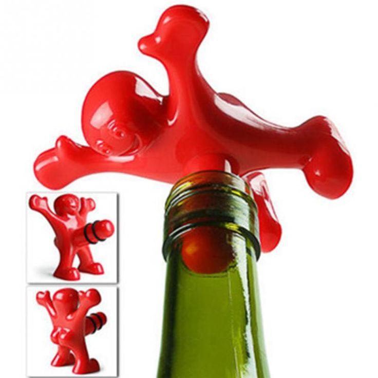 1pc Newest Novelty Bar Tools Wine Cork Bottle Plug Funny Happy Man Guy Wine Stopper Perky Interesting Gifts * Haga clic en la imagen para ver los detalles