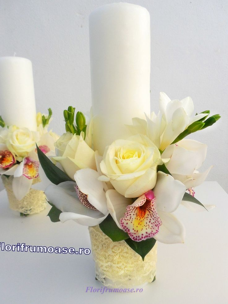 Lumanari nunta scurte ( grecesti ) cu orhidee si trandafiri