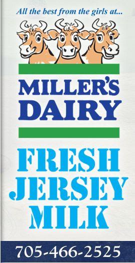 Jersey cow dairy in Ontario. Millers Dairy Creemore ~ Jersey Milk ~ Whole Milk ~ Skim Milk ~ Cream