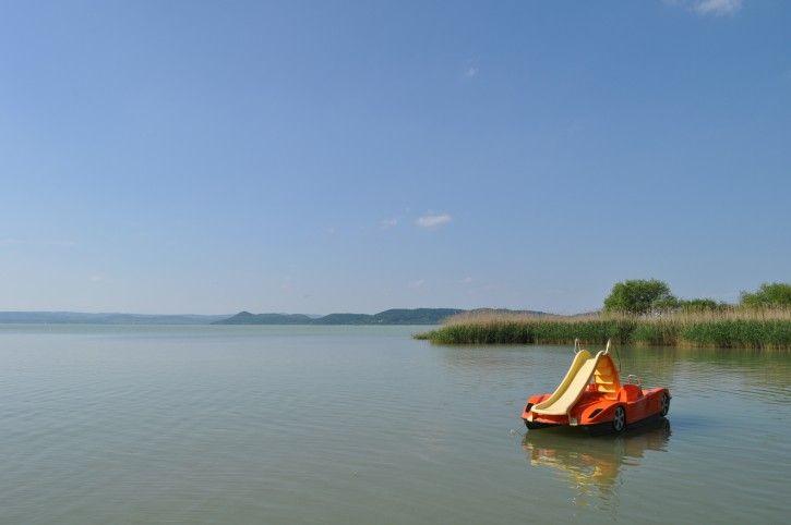 The lake Balaton and a paddle boat. #Balaton #Hungray #Europe #boat #lake #water