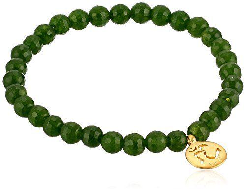 """Satya Jewelry """"Classics"""" Om Jade Stretch Bracelet"""
