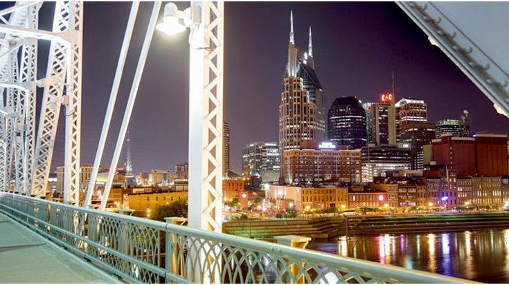 The Shelby Street Pedestrian Bridge offers a one-of-a-kind view of the Nashville skyline.