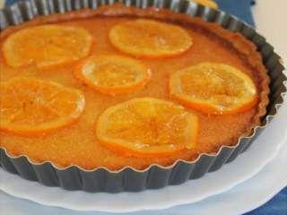 Tarte amandine à l'orange et oranges confites