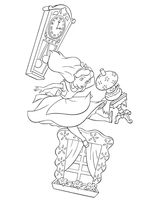 alice in wonderland falling | Coloring Pages of Alice in Wonderland Falling Down the Rabbit Hole