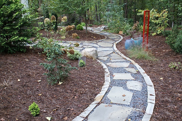 Flagstone walkway with stone edging and gravel outdoors for Path and border edging