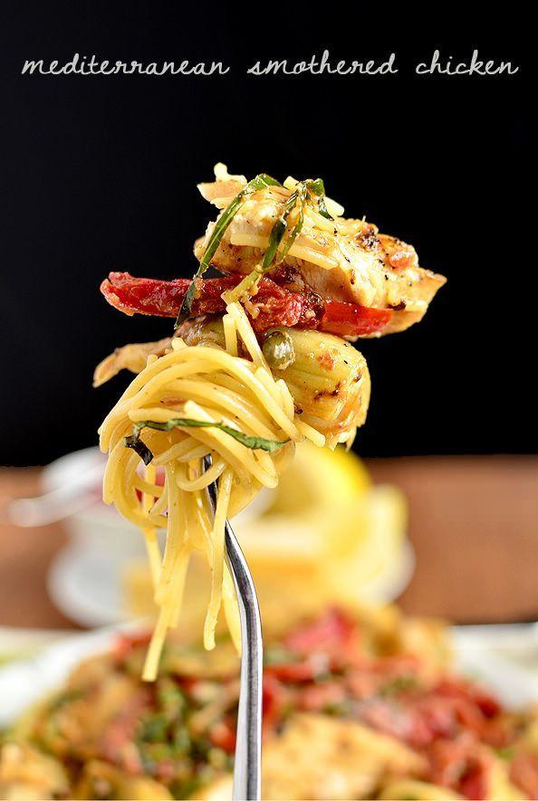 Mediterranean Smothered Chicken is decadent, yet easy. This is no boring chicken recipe! | iowagirleats.com
