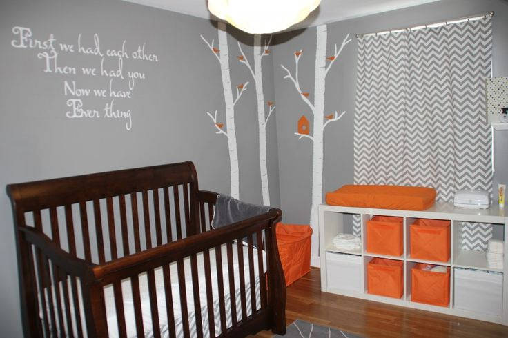 had been planning on using the dresser as a changing table, but maybe the dresser could go inside the closet and we'll get an ikea  cubicle storage like this insteadBabyroom Ideas, Colors, Gray And Brown Baby Room,  Cot, Projects Nurseries, Cribs, Baby Grey, Chevron Curtains, Babies Rooms