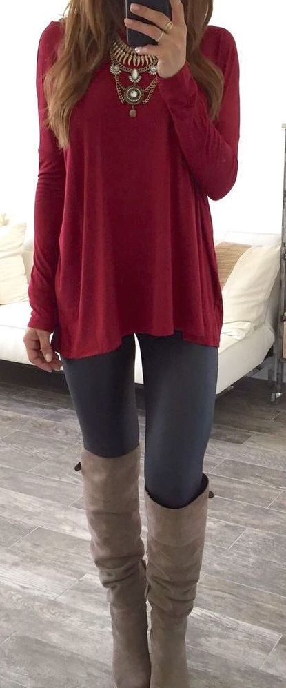 #fall #outfits / red knit + booties